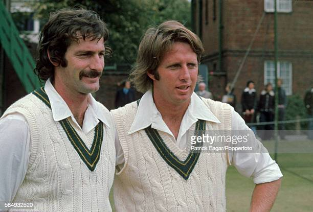 Dennis Lillee and Jeff Thomson of Australia before the the Prudential World Cup Warmup match between Middlesex and Australia at Lord's Cricket Ground...