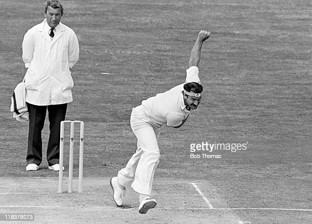 Dennis Lillee bowling for Australia during the 4th Test match against England at Edgbaston in Birmingham 2nd August 1981 The umpire is Don Oslear...