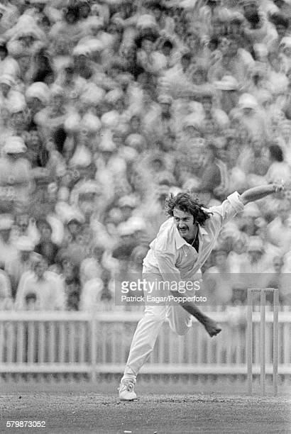 Dennis Lillee bowling for Australia during the 4th Test match between Australia and England at the SCG, Sydney, Australia, 5th January 1975.