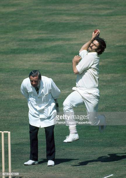 Dennis Lillee bowling for Australia during the 5th Test match between England and Australia at The Oval, London, 14th August 1972. The umpire is...