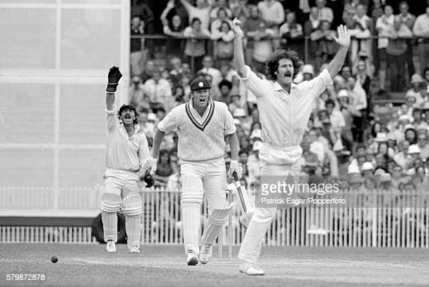Dennis Lillee of Australia and Rod Marsh appeal for LBW against Tony Greig of England during the 3rd Test match between Australia and England at the...