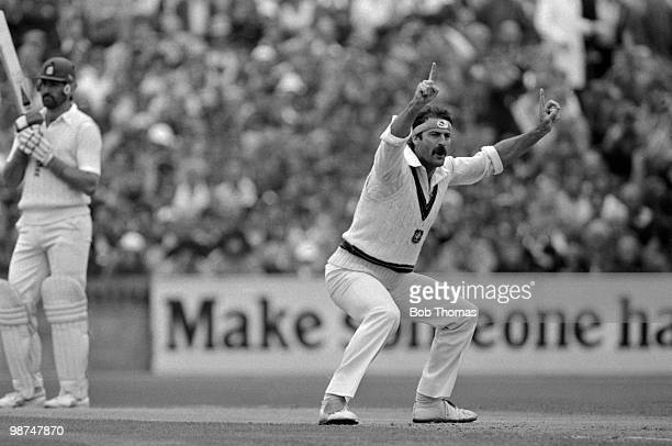 Dennis Lillee of Australia appeals for LBW against England batsman Graham Gooch during the first day of the 5th Test Match at Old Trafford in...