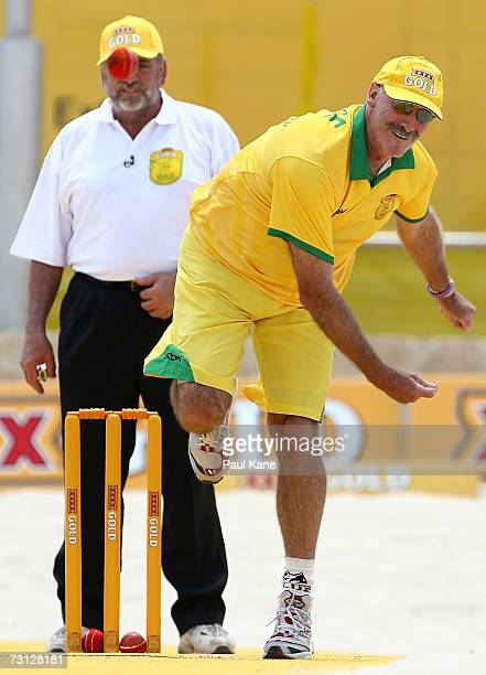 Dennis Lillee of Australia bowls during the Beach Cricket TriNations match on Scarborough Beach January 27 2007 in Perth Australia