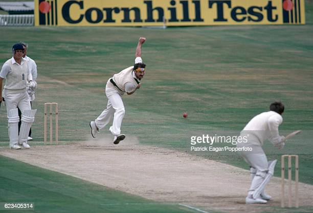 Dennis Lillee of Australia bowls to Mike Gatting of England while Geoff Boycott looks on during the 3rd Test match between England and Australia at...