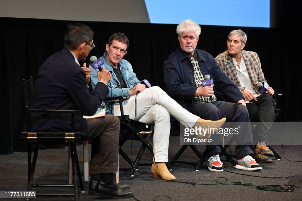 Dennis Lim Antonio Banderas writer/director Pedro Almodóvar and Carla Marcantonio at the Pain and Glory press conference during the 57th New York...