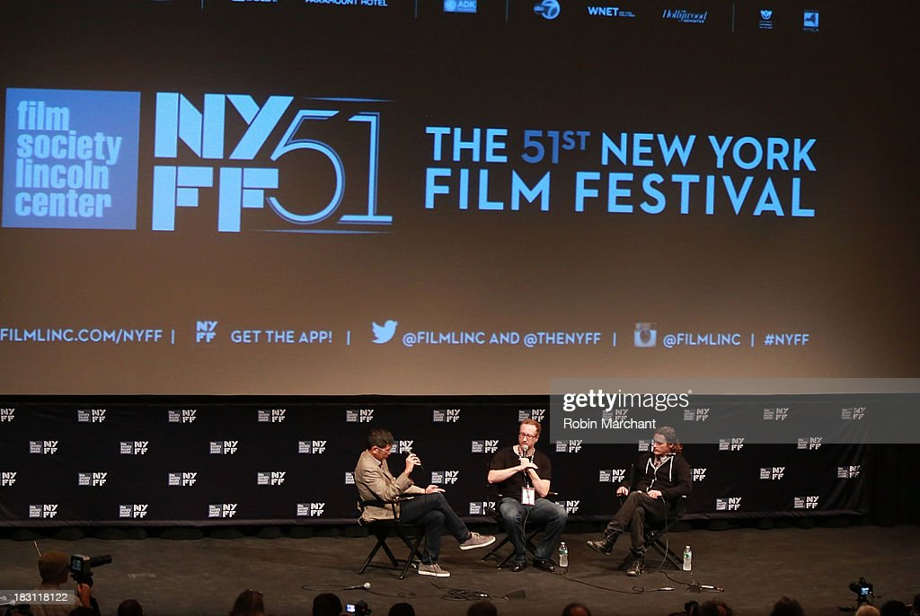 Dennis Lim, filmmakers James Gray and actor Joaquin Phoenix attend the 'Immigrants' premiere during the 51st New York Film Festival at The Film Society of Lincoln Center, Walter Reade Theatre on October 4, 2013 in New York City.