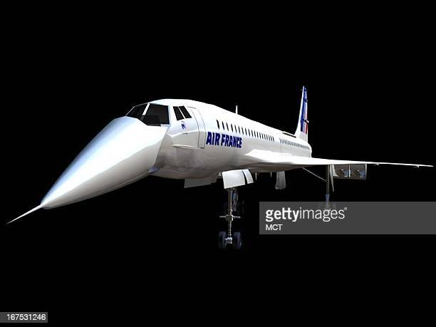 Dennis Lowe three-quarter front view image of an Air France Concorde jet.