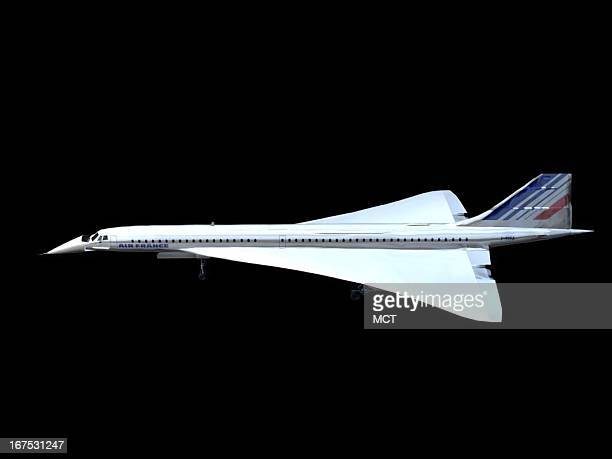 Dennis Lowe three-quarter side view image of an Air France Concorde jet.