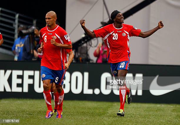 Dennis Marshall of Costa Rica celebrates after scoring a first half goal against Honduras during the 2011 Gold Cup Quarterfinals on June 18, 2011 at...