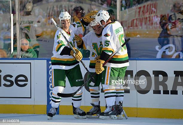 Dennis Maruk of the Minnesota North Stars celebrates his goal with teammates Darby Hendrickson and Andrew Brunette during the 2016 Coors Light...