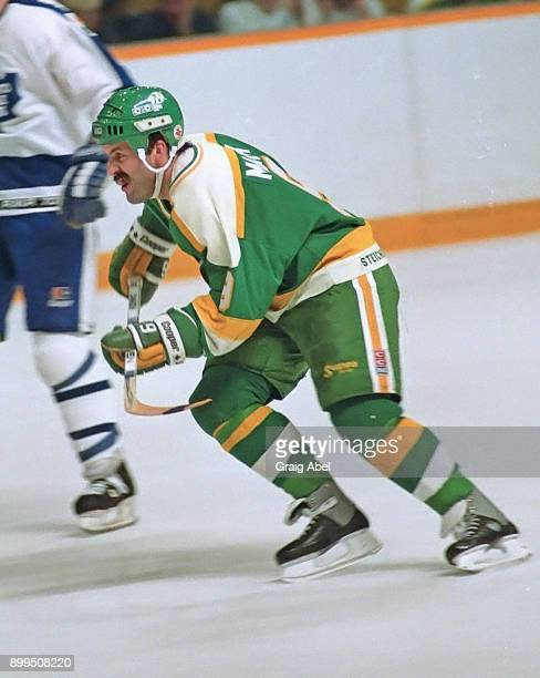 Dennis Maruk of the Minnesota North Stars skates against the Toronto Maple Leafs during NHL game action on December 18 1986 at Maple Leaf Gardens in...