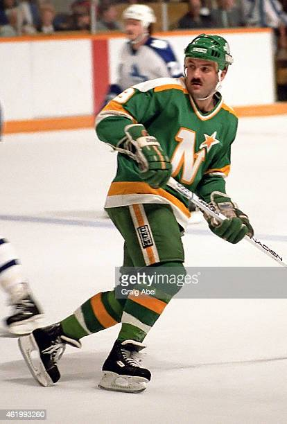 Dennis Maruk of the Minnesota North Starsskates up ice against the Toronto Maple Leafs during game action on October 26 1985 at Maple Leaf Gardens in...