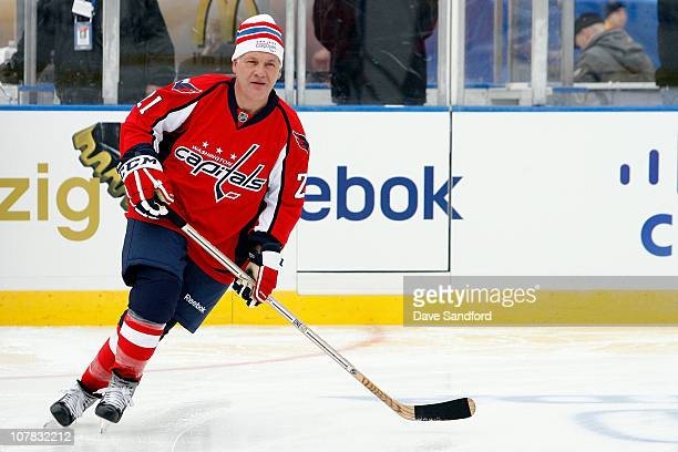 Dennis Maruk of the Washington Capitals alumni skates against the Pittsburgh Penguins alumni during the Alumni game prior to the 2011 NHL Bridgestone...