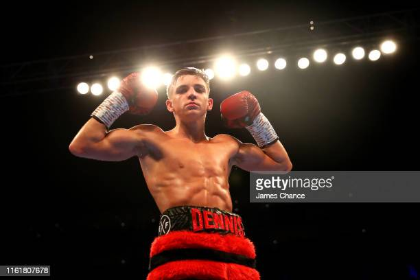 Dennis McCann celebrates victory over Jerson Larios after the Bantamweight fight between Dennis McCann and Jerson Larios at The O2 Arena on July 13,...