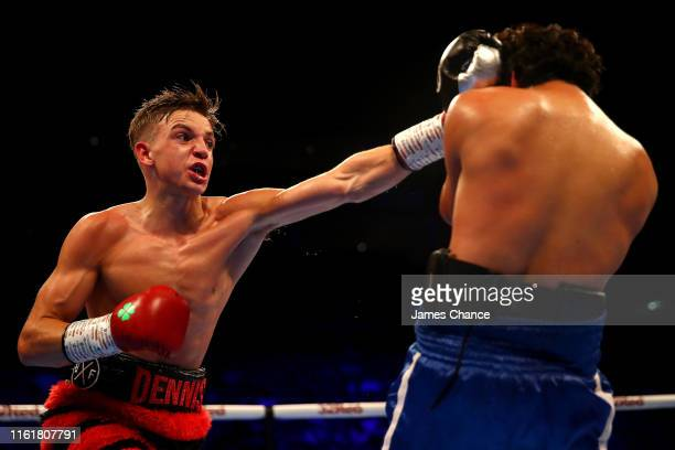 Dennis McCann punches Jerson Larios during the Bantamweight fight between Dennis McCann and Jerson Larios at The O2 Arena on July 13, 2019 in London,...