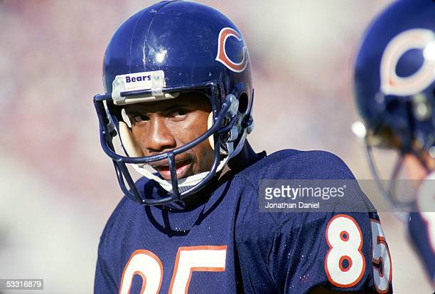 Dennis McKinnon of the Chicago Bears looks on during a game in the 1985 season