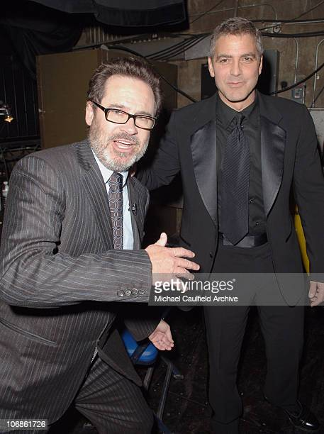 Dennis Miller and George Clooney during 11th Annual Critics' Choice Awards Backstage at Santa Monica Civic Auditorium in Santa Monica California...