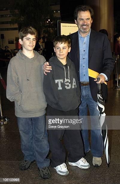 Dennis Miller with sons Morton and Holden during A Mighty Wind Los Angeles Premiere at The Directors Guild of America in West Hollywood California...