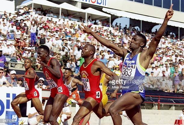 Dennis Mitchell competes in the men''s 100 meter final in the U.S. Track and Field Trials in New Orleans, Louisiana. Mitchell finished first....