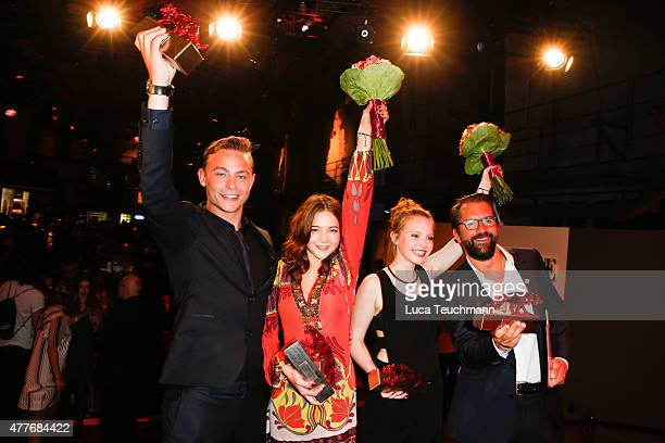 Dennis Mojen Lina Larissa Strahl Lisa Maria Koroll and Rick Ostermann attends New Faces Award Film 2015 at EWerk on June 18 2015 in Berlin Germany