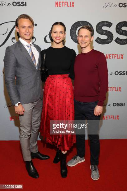 Dennis Mojen Lisa Vicari and show runner Oliver Kienle attends the premiere of the Netflix film Isi Ossi at Filmtheater am Friedrichshain on February...