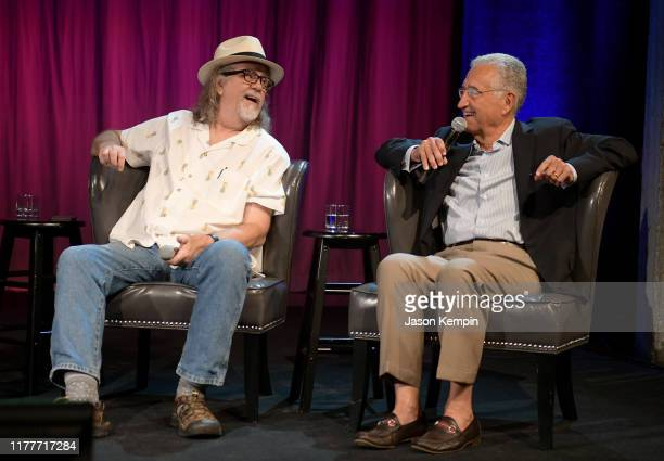 Dennis Morgan and Del Bryant speak onstage during a panel of the legacy Of Boudleaux and Felice Bryant at Country Music Hall of Fame and Museum on...