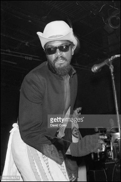 Dennis Morris lead singer and Humphrey 'JR' Murray on guitar of Basement 5 performing at the ICA, London, United Kingdom, 3 January 1981.