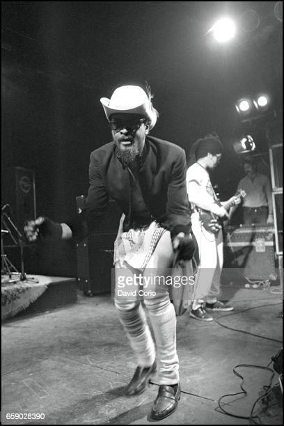 Dennis Morris lead singer and Humphrey 'JR' Murray on guitar of Basement 5 performing at the ICA London United Kingdom 3 January 1981