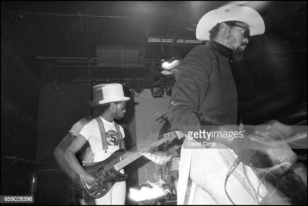 Dennis Morris lead singer and Leo 'EZee Kill' Williams on bass guitar of Basement 5 performing at the ICA London United Kingdom 3 January 1981
