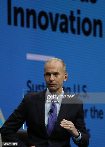 Dennis Muilenburg chairman president and CEO of the Boeing Company participates in a Business Roundtable discussion on Ambitious Innovation...