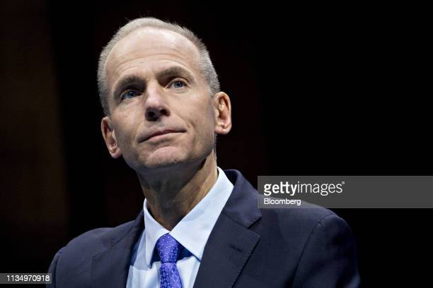 Dennis Muilenburg chief executive officer of Boeing Co looks on during a Business Roundtable CEO Innovation Summit discussion in Washington DC US on...