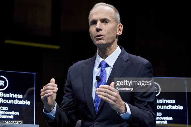 Dennis Muilenburg chief executive officer of Boeing Co speaks during a Business Roundtable CEO Innovation Summit discussion in Washington DC US on...