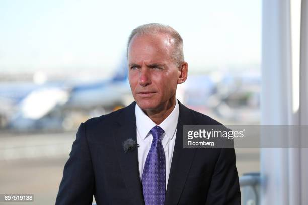 Dennis Muilenburg chief executive officer of Boeing Co speaks during a Bloomberg Television interview at the 53rd International Paris Air Show at Le...