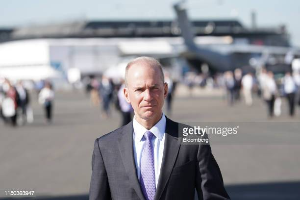 Dennis Muilenburg chief executive officer of Boeing Co walks the tarmac during the 53rd International Paris Air Show at Le Bourget in Paris France on...