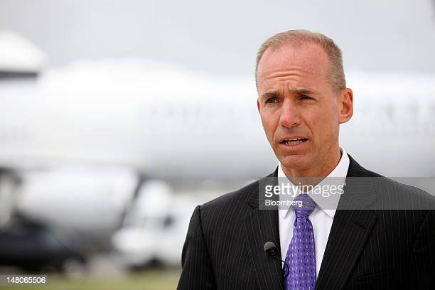 Dennis Muilenburg chief executive officer of Boeing Co's defense division speaks during a Bloomberg Television interview on the first day of the...