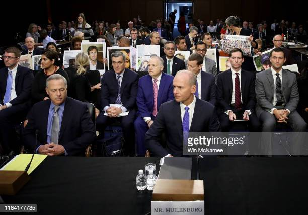 Dennis Muilenburg President and CEO of the Boeing Company and John Hamilton Vice President and Chief Engineer of Boeing Commercial Airplanes sit at...