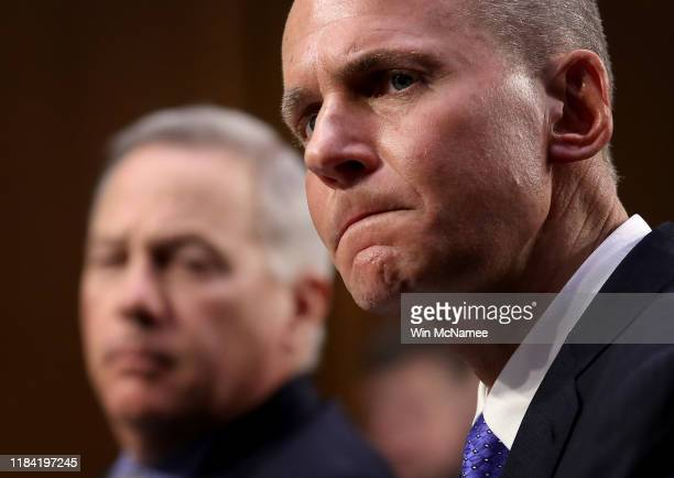 Dennis Muilenburg president and CEO of the Boeing Company and John Hamilton vice president and chief engineer of Boeing Commercial Airplanes testify...