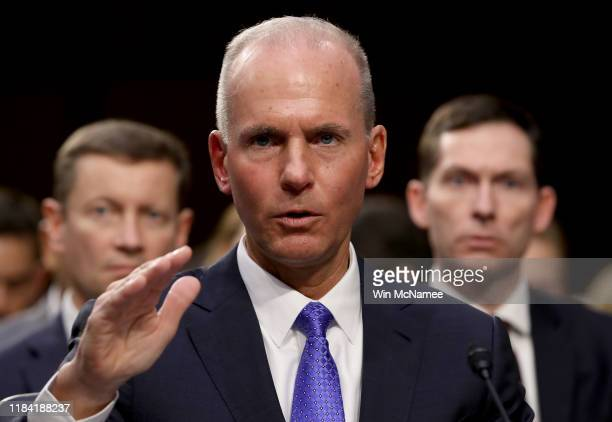 Dennis Muilenburg President and CEO of the Boeing Company testifies before the Senate Commerce Committee October 29 2019 in Washington DC Muilenburg...