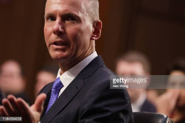 Dennis Muilenburg president and CEO of the Boeing Company testifies before the Senate Commerce Science and Transportation Committee October 29 2019...