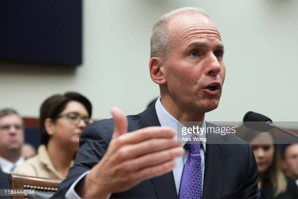 Dennis Muilenburg president and CEO of the Boeing Company testifies before the House Transportation and Infrastructure Committee October 30 2019 on...