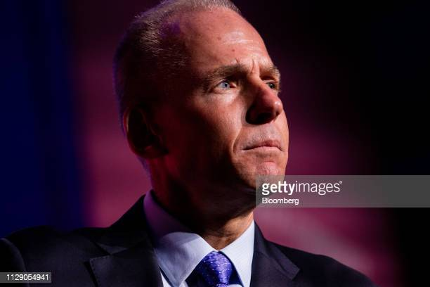 Dennis Muilenburg president and chief executive officer of the Boeing Co listens during the US Chamber of Commerce Aviation Summit in Washington DC...