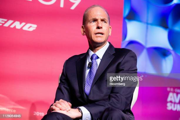 Dennis Muilenburg president and chief executive officer of the Boeing Co speaks during the US Chamber of Commerce Aviation Summit in Washington DC US...