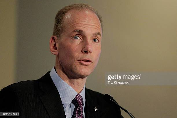 Dennis Muilenburg president and chief operating officer of Boeing speaks at the US Chamber of Commerce Foundation Aviation Summit on April 3 2014 in...