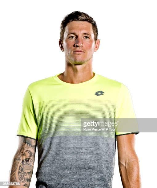 Dennis Novak of Austria poses for portraits during the Australian Open at Melbourne Park on January 14 2018 in Melbourne Australia