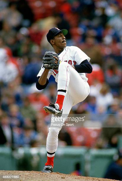 Dennis 'Oil Can' Boyd of the Boston Red Sox pitches during an Major League Baseball game circa 1989 at Fenway Park in Boston Massachusetts Boyd...