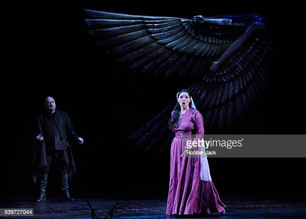Dennis O'Neil and Zvetelina Vassileva perform with Welsh National Opera in their production of Giuseppe Verdi's opera Aida at Wales Millennium Centre...