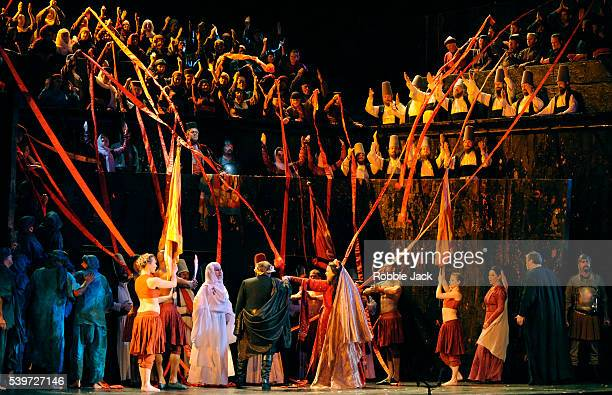 Dennis O'Neil Zvetelina Vassileva and Margaret Jane Wray perform with artists of Welsh National Opera in their production of Giuseppe Verdi's opera...