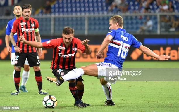 Dennis Praet and Antonio Vacca during the TIM Cup match between UC Sampdoria and Foggia at Stadio Luigi Ferraris on August 12 2017 in Genoa Italy