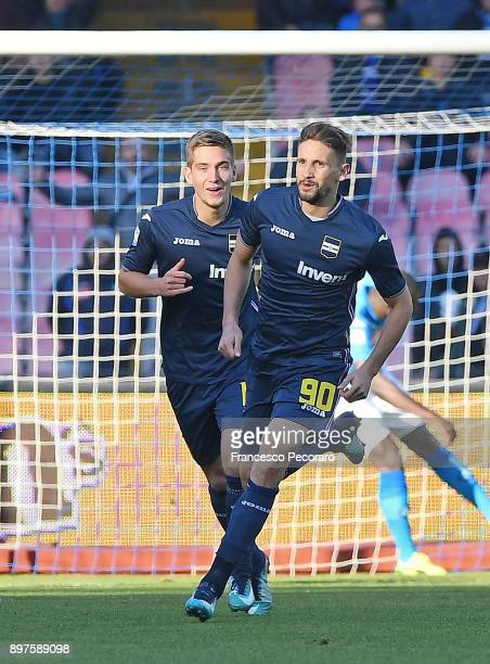 Dennis Praet and Gaston Ramirez of UC Sampdoria celebrate the 01 goal scored by Gaston Ramirez during the Serie A match between SSC Napoli and UC...