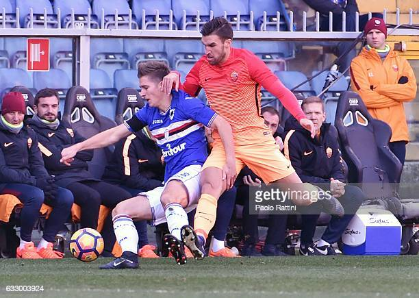 Dennis Praet and Kevin Strootman during the Serie A match between UC Sampdoria and AS Roma at Stadio Luigi Ferraris on January 29 2017 in Genoa Italy